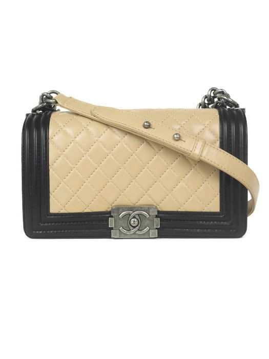 Bag CHANEL Boy Medium Beige Lambskin with Ruthenium Hardware