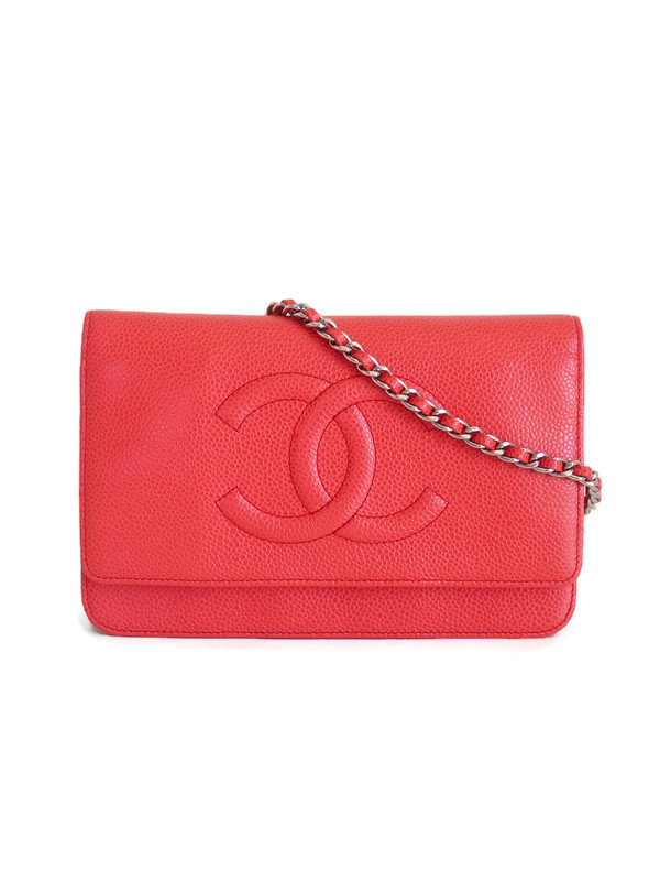 Bag CHANEL WOC Red Grained Calfskin Silver Hardware