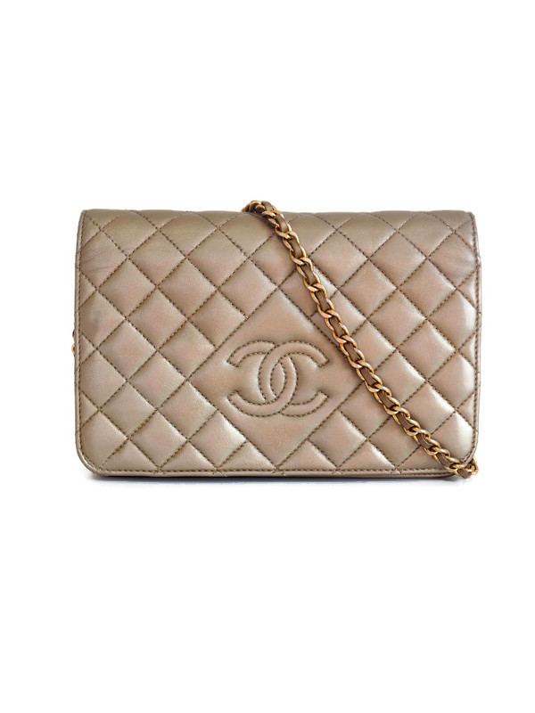Bag CHANEL WOC Taupe Metallic Lambskin Gold Hardware