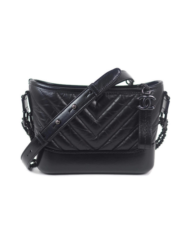 Bag CHANEL Gabrielle Small Hobo So Black Chevron Quilted Calfskin