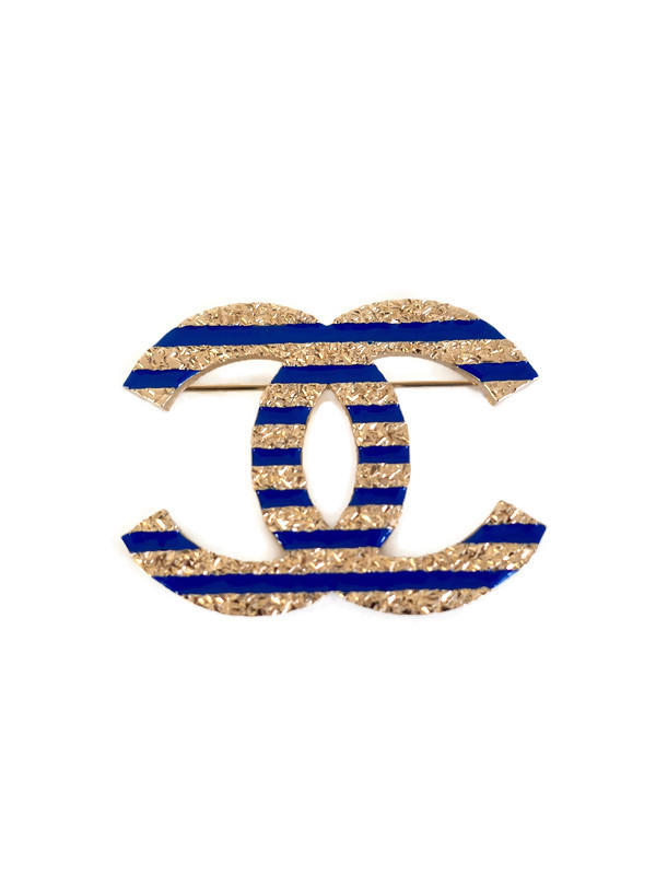 Brooch CHANEL Large Gold Metal Blue Stripes