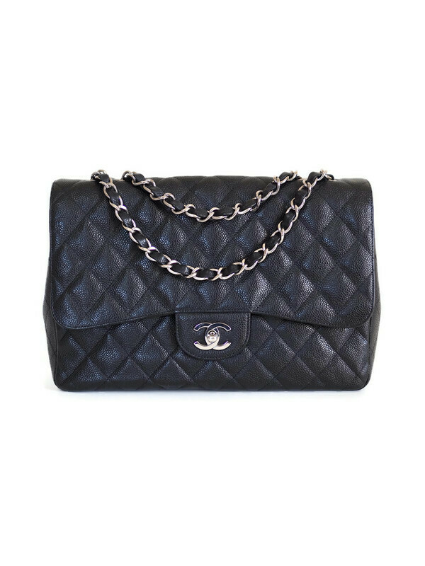 Bag CHANEL Classic Jumbo Single Flap Black Calfskin Silver Hardware