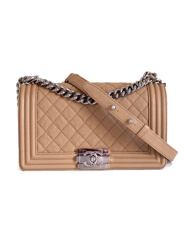 Bag CHANEL Boy Medium Beige Grained Calfskin Silver Hardware