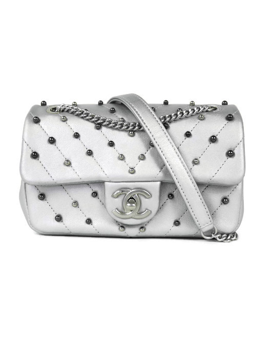 56ae836971b738 Bag CHANEL Mini Rectangular Pearls Silver Lambskin Silver Hardware