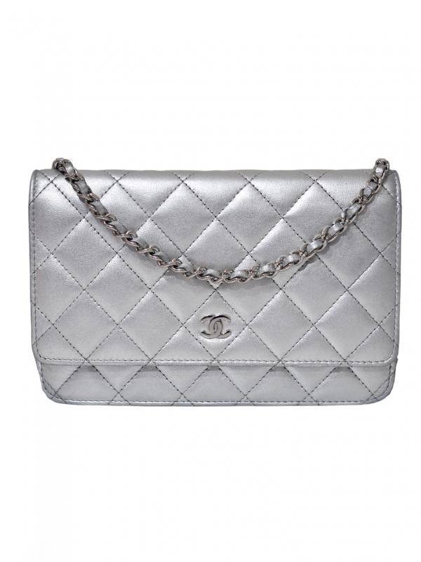 Bag CHANEL WOC Silver Lambskin Silver Hardware