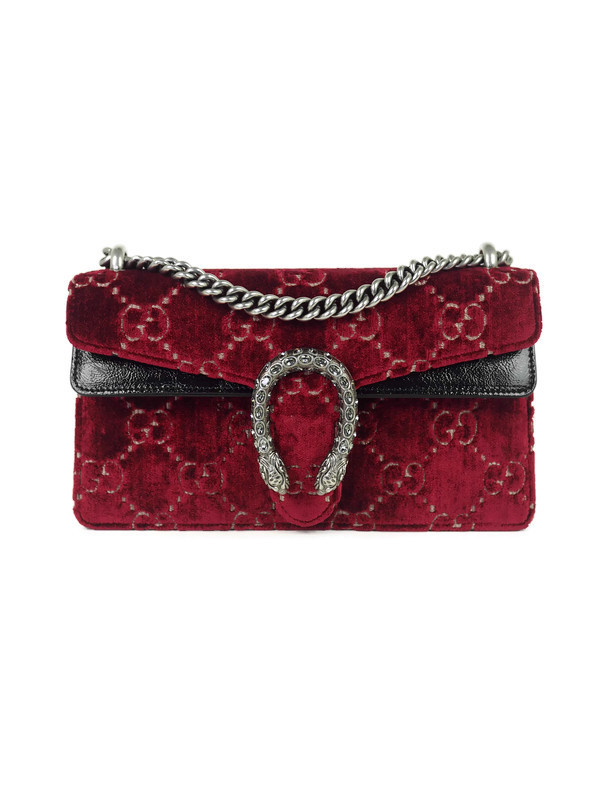 Bag GUCCI Dionysus Small Burgundy Velvet GG
