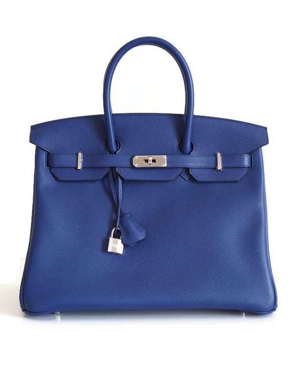 Bag HERMES Birkin 35 Bleu Saphir Taurillon Novillo Double Palladium Hardware