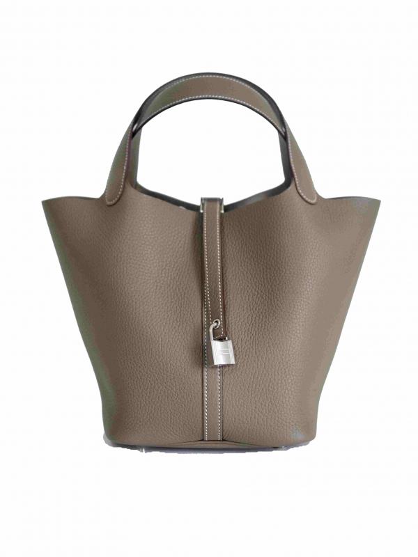 Bag HERMES Picotin Lock MM Taurillon Clemence Etoupe PHW
