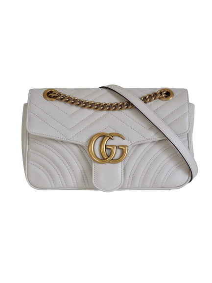 Bag GUCCI Marmont Matelasse White Leather Small