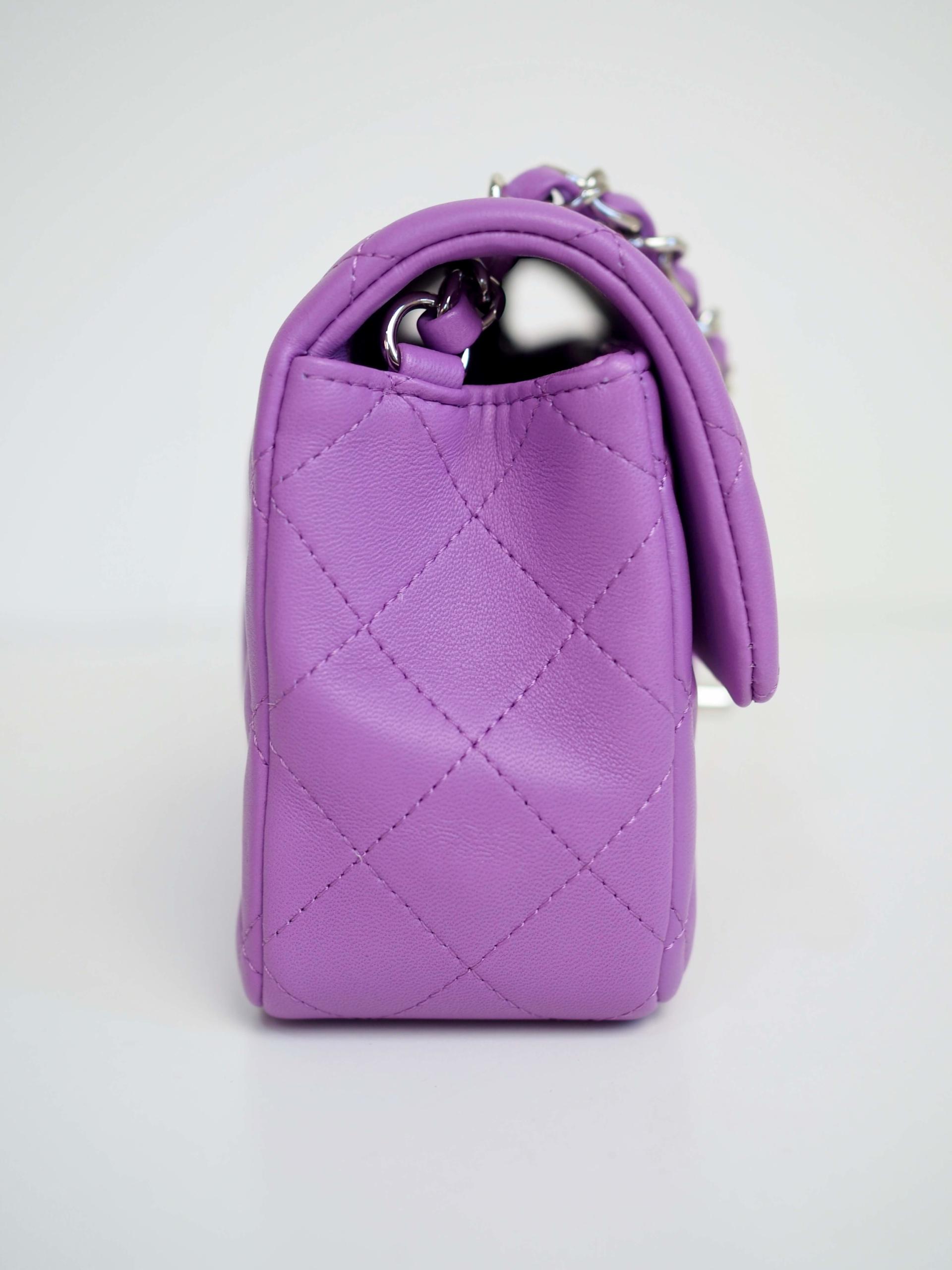 Bag CHANEL Timeless Mini Rectangular Purple Lambskin Silver Hardware