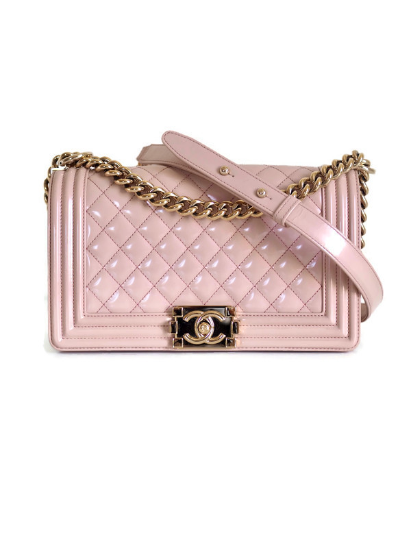 Bag CHANEL Boy Medium Pink Iridescent Calfskin Gold Hardware
